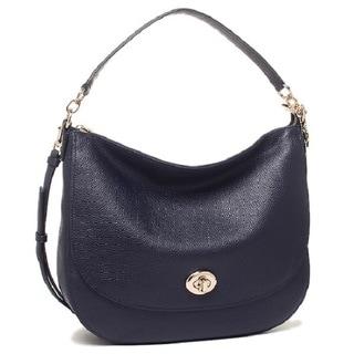 Coach Women's Turnlock Navy Leather Hobo Handbag
