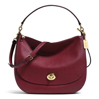 Coach Turnlock Burgundy Leather Hobo Handbag