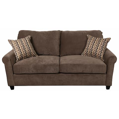 """Porter Serena Warm Grey Microfiber Queen Sleeper Sofa with Two Woven Accent Pillows - 38""""H x 35""""D x 81""""W"""