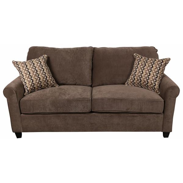 Porter Serena Warm Grey Microfiber Queen Sleeper Sofa With Two Woven Accent Pillows
