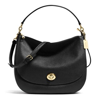 Coach Turnlock Black Leather Hobo Handbag