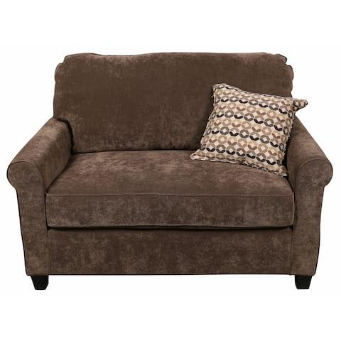 "Porter Serena Warm Grey Microfiber Twin Sleeper Cuddler Loveseat with Woven Accent Pillow - 38""H x 35""D x 53""W"