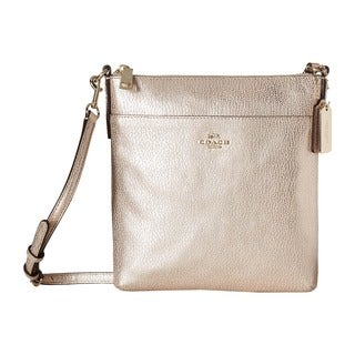 Coach North/South Swingpak Platinum Leather Embossed Textured Crossbody Handbag