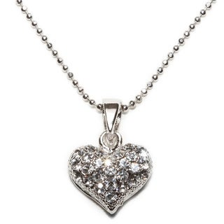 Silvertone Crystal Sweet Love Pendent Necklace (Thailand)