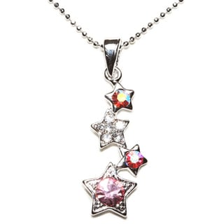 Silvertone Crystal Pink Star Pendent Necklace (Thailand)