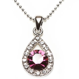 Silvertone Crystal Crystal Purple Pendent Necklace (Thailand)