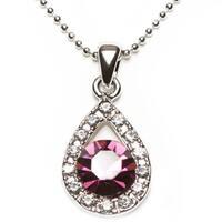 Handmade Silvertone Crystal 'Crystal Purple' Pendent Necklace (Thailand)