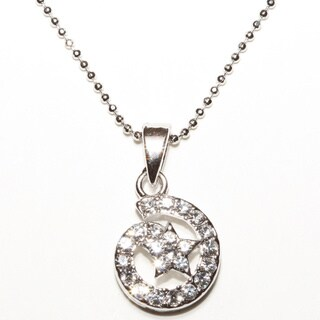 Silvertone Crystal Star Bright Pendent Necklace (Thailand)