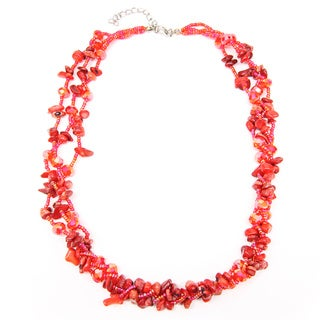 Thai-handicraft Three-layer Beauty Red Coral and Crystal Beads Cluster Necklace (Thailand)