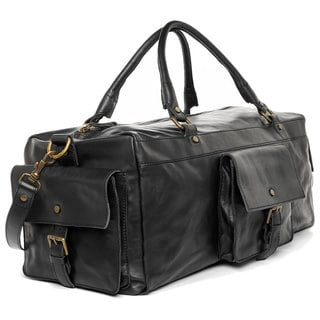 Satch and Fable VIirgilio Black Italian Leather Duffel Bag