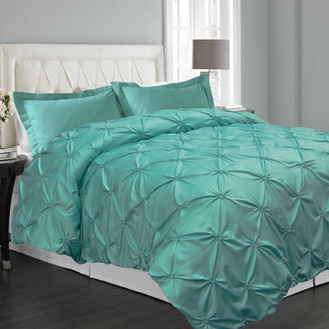 Floral Pintuck 3-piece Duvet Cover Set