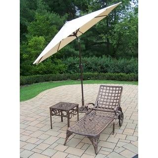 Merit 4-Piece Cast Aluminum Lounge Set with 9 ft Beige Umbrella