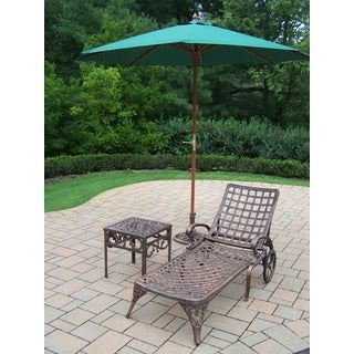 Merit 4-Piece Cast Aluminum Lounge Set with 9 ft Green Umbrella