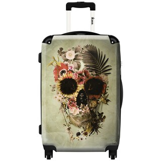 iKase Skull Flowers Khaki ,Carry-on 20-inch,Hardside, Spinner Suitcase