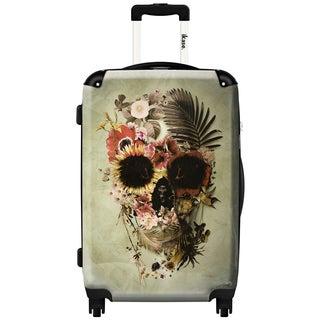 iKase Flower Skull Khaki ,24-inch Hardside Spinner Upright Suitcase