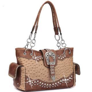 Dasein Western Style Ostrich Rhinestone Buckle Shoulder Handbag|https://ak1.ostkcdn.com/images/products/13477286/P20163621.jpg?impolicy=medium