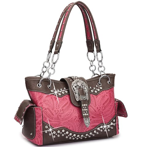 Dasein Western Style Rhinestone Buckle Camo Shoulder Handbag