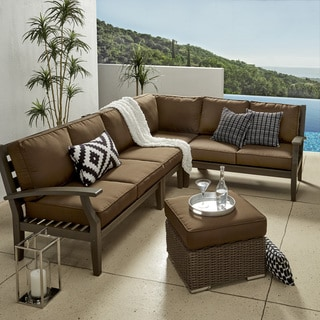 Yasawa Modern Outdoor Cushioned Wood Sectional - Grey by iNSPIRE Q OASIS
