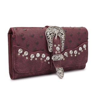 Dasein Faux Ostrich Leather with Buckle and Rhinestones Tri-fold Wallet