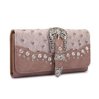 Dasein Faux Ostrich Leather with Buckle and Rhinestones Tri-fold Wallet (Option: Brown)