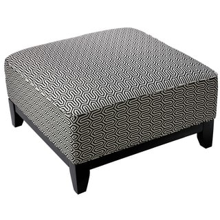 Cortesi Home Voxie Black and White Fabric Square Ottoman