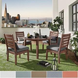 Yasawa Modern Wood Outdoor Round Dining Set - Brown iNSPIRE Q Oasis