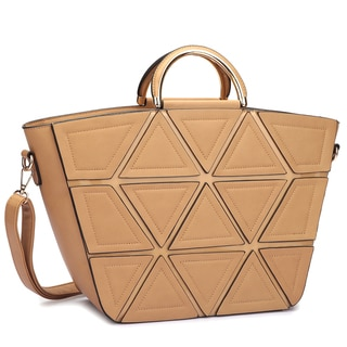 Dasein Front Crosshatch Patch Round Gold Trim Handle Tote Bag