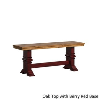 Eleanor Two-Tone Trestle Leg Wood Dining Bench by TRIBECCA HOME