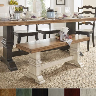 Eleanor Two-Tone Trestle Leg Wood Dining Bench by iNSPIRE Q Classic