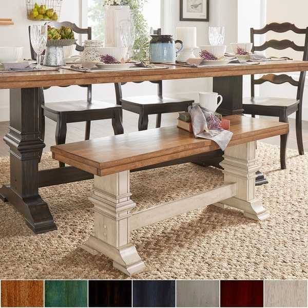 Shop Eleanor Two Tone Trestle Leg Wood Dining Bench By