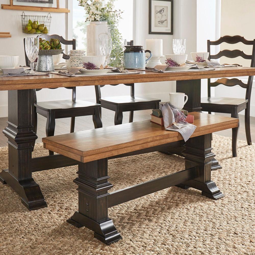 Two Tone Trestle Leg Wood Dining Bench