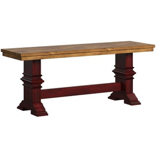 Eleanor Two-Tone Trestle Leg Wood Dining Bench by iNSPIRE Q Classic (4 options available)