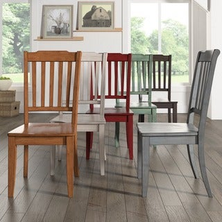 Eleanor Slat Back Wood Dining Chair (Set of 2) by iNSPIRE Q Classic (Option: Antique White)