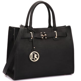 Dasein Decorative Front Belted Gold Plated Hinge Satchel Handbag