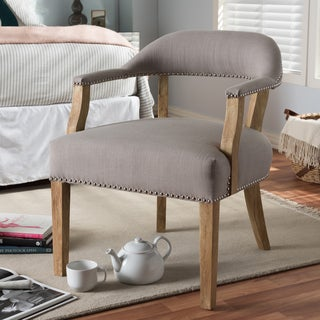 Baxton Studio Distressed Beige Upholstered Accent Chair