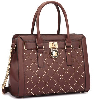 Dasein Decorative Gold Studs and Belted Lock Deco Satchel Handbag