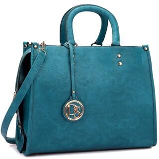 Dasein Soft Faux Leather Round Handle Satchel Handbag