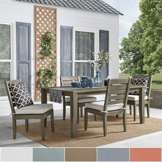 Yasawa Modern Wood Outdoor Rectangle 5 Piece Dining Set   Grey By INSPIRE Q  Oasis