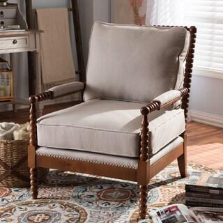 Baxton Studio Nikolaos Modern Upholstered Spindle Lounge Chair