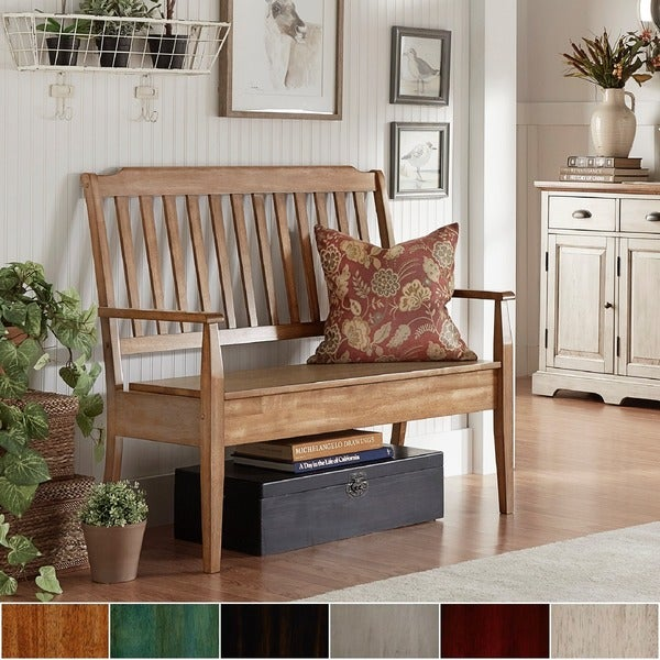 storage benches for living room shop eleanor slat back wood storage bench by inspire q 20284