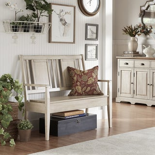 Eleanor Panel Back Wood Storage Bench by TRIBECCA HOME