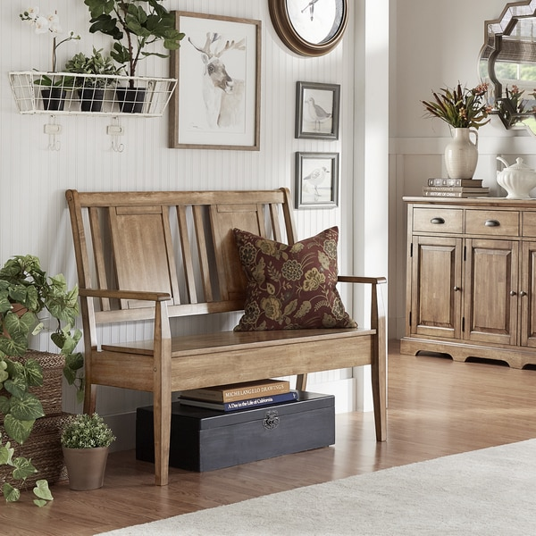 Eleanor Panel Back Wood Storage Bench by iNSPIRE Q Classic. Opens flyout.