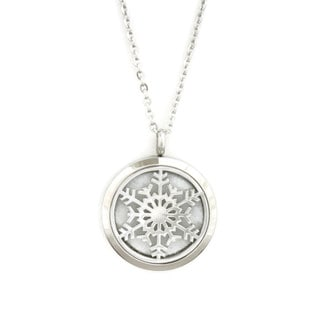 """Let it Snow"" Snowflake 316L Stainless Steel Diffuser Necklace- 24"""
