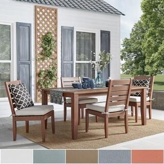 Yasawa Modern Wood Outdoor Rectangle 5-Piece Dining Set- Brown by NAPA LIVING