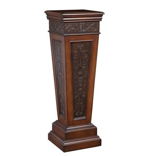 Faux Metal Inlay Walnut Finish Accent Pedestal