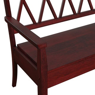 Eleanor X Back Wood Storage Bench by TRIBECCA HOME