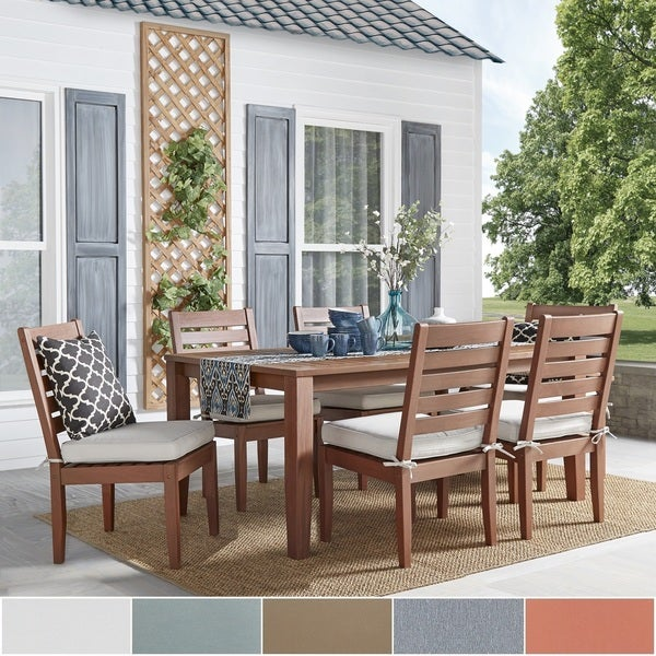 Yasawa Modern Wood Outdoor Rectangle 7-Piece Dining Set