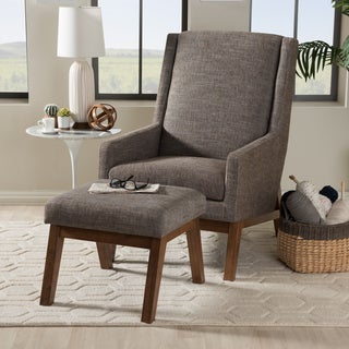Baxton Studio Methodios Mid-Century Upholstered Lounge Chair and Ottoman Set
