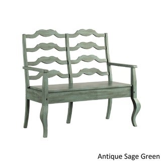 Eleanor French Ladder Back Wood Storage Bench by TRIBECCA HOME