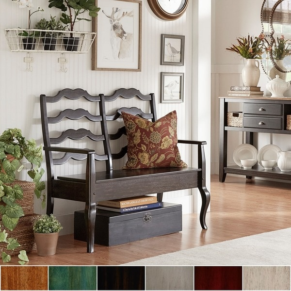 Eleanor French Ladder Back Wood Storage Bench By INSPIRE Q Classic